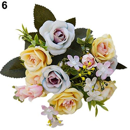 Amesii - 1 künstlicher Blumenstrauß, 15 Köpfe Royal-Rose, europäischer Stil, Blumen zur Wohnraumdekoration gelb (Roses Royal)