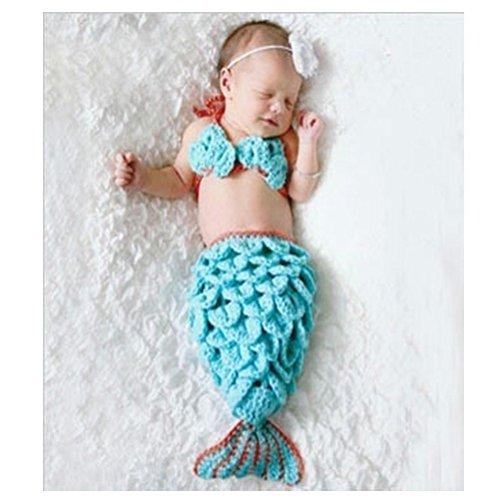 DAYAN weiche handgemachte Häkelarbeit-Knit Baby-Fotografie Props Niedliche Baby-Meerjungfrau-Outfits, Meerjungfrau-Kostüm für Baby (0-6 Monate) (Meerjungfrau Kostüm Babys)