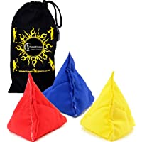 "3x ""Tri-It"" Juggling Balls - Set of 3 Pyramid Juggling Sacks, Bean Bags For Kids & Adults +Fabric Travel Bag. (Yellow/Red/Blue)"
