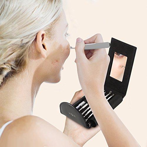 Anjou 6 Stücke Mitesserentferner Komedonenquetscher Set aus risikofreiem Edelstahl, Verschiedene Werkzeuge zur Professionellen Behandlung von Gesichtsunreinheiten wie Akne, Pickel