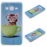Qiaogle Telefono Case - Soft Custodia in TPU Silicone Case Cover per Samsung Galaxy ON5 / ON5 Pro / SM-G5500 (5.0 Pollici) - XX24 / Love Gatto