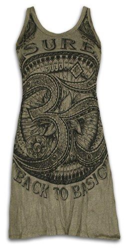 Sure Damen Träger-Kleid Om Aom Symbol Größe S M L Heiliges Buddhismus Hinduismus Yoga Zeichen (Olive Grün M)