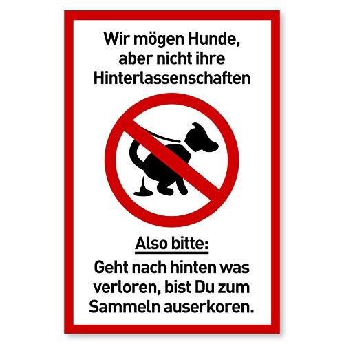Schild Hunde Kacken verboten | Kein Hundeklo | Hundekot Schild | Hunde Verbotsschilder |...