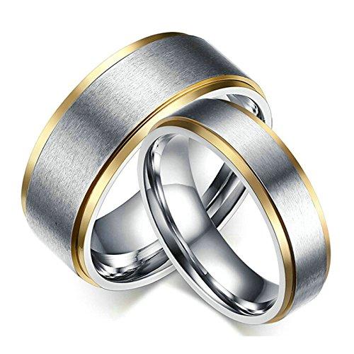 Aooaz 2pcs coppie anelli in acciaio inossidabile 6 / 8mm donna anelli uomo argento donna fascia donna 10 & uomo 12 con portagioie anelli fidanzamento