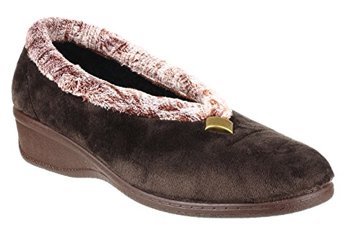 Cotswold Ladies Broadway Cozy Faux Fur Collared Slippers Brown brown