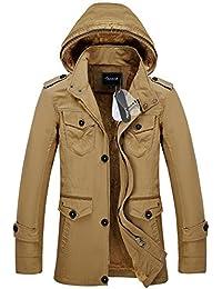 Zicac-Manteau homme à capuche en coton manches longues l`hiver