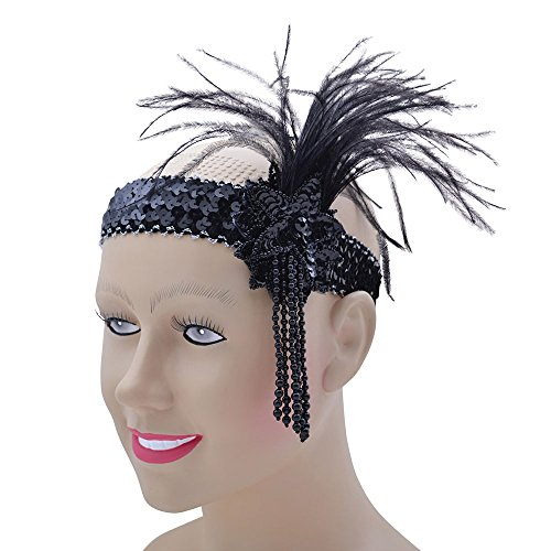 Bristol Novelty ba367 Flapper Stirnband Schwarz Pailletten Band Deluxe, One size