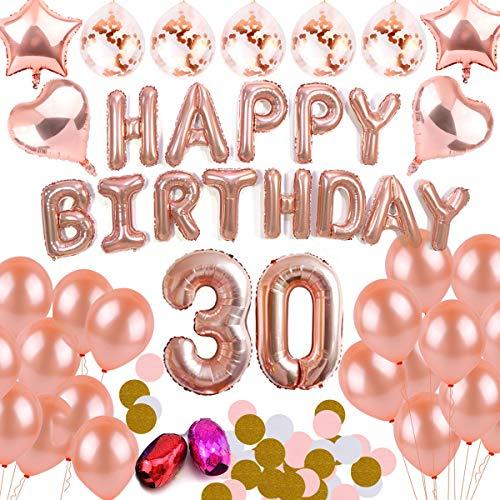 BEMEI 30th Geburtstagsdeko Mädchen Rosegold Dekoration Set Happy Birthday Banner Party Supplies für Mädchen Jungen