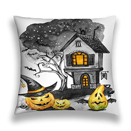 Tyuyui Pillow Cases Watercolor Landscape Old House Cemetery Holidays Pumpkins Halloween Holiday Illustration Magic Symbol Horror Scary Night Grey tempurpedic
