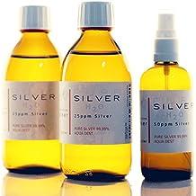 PureSilverH2O© - Set da 2 bottiglie di argento colloidale 99,99%, spray, da 250 ml / 50 ppm + 1 spray gratuito da 50 ppm