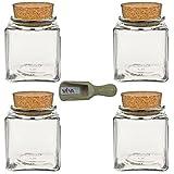 Viva Haushaltswaren - 4 x Gewürzglas eckig 100 ml