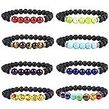 TSLIKANDO 8pcs 8mm Lava Rock Bracelet 7 Chakra Beads Lava Stone Diffuser Bracelet Elastic Natural Yoga Bracelet for Men Women