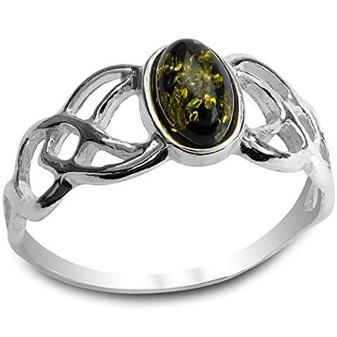 Grüner Bernstein Sterling Silber Keltischer Oval Ring (Grüne Braut Schmuck)