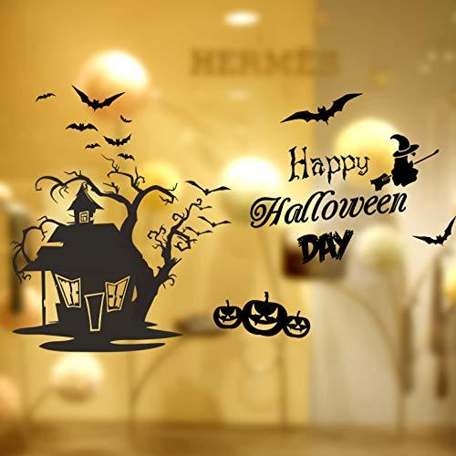 huangshi Wandaufkleber Schwarz Fledermaus Schädel Kürbis Baum Haus Wandtattoos Für Kinderzimmer Bedroon Shop Schaufenster Halloween Dekoration