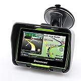 Excelvan - Navegador GPS Para Coche y Motos (Pantalla TFT 4.3'', Windows CE 6.0, Impermeable IPX7, Bluetooth, 8Gb, Mapas Gratuitos para Descargar, Navegación con Voz, Idiomas Compatibles) (Verde)
