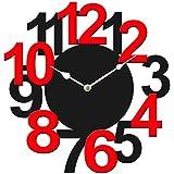 Sehaz Artworks BigNum Manufactured Wood 12 inch Designer Wall Clock for Home and Kitchen (Black_Red)