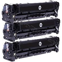 Merotoner - Cartuchos de tóner para impresora HP Color LaserJet CE320A, CE 320A, 128A 128 A, HP CLJ CP1525, CP-1525N/NW, CM1415, CM-1415FN/FNW, CM1415 y CM-1415MF (3 unidades, color negro, 2200 páginas/unidad)