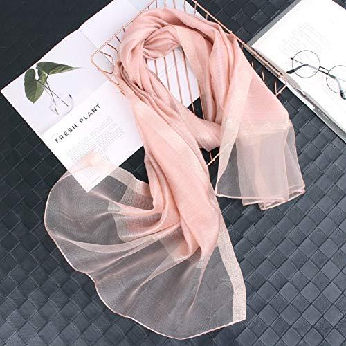 Jjhr sciarpa di seta sciarpa scialle d'epoca con scaldacuore d'acqua calda invernale in seta di cotone tinta unita primavera selvaggia lunga oro e argento