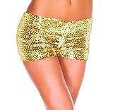 Tomatoa Frauen Elegant Hohe Taille Kurze Hosen mit Pailletten Hot Pants Lässige Strand Shorts Yoga Shorts Hose YOGA Shorts Hot Pants Sportshorts (Golden, S)