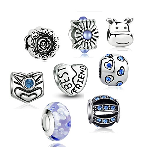 Akki Charm Angebote Beads Set Schwarz Weiß blau grün Rosa/Charms für Pandora Kompatibel Armband Silber Beads Bettelarmband Charms Modele Blau