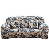 Generic Blume drucken Sofa umfasst 1234-Sitzer-Polyester Spandex Stoff Stretch Couch Strechhusse Displayschutzfolie, Blau (Provence), 2 Sweater