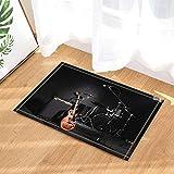 Musik-Dusche-Dekor, Grunge-Konzertinstrumente Gitarre und Trommel in schwarzen Badteppichen, rutschfeste Fußmatte Bodeneingänge Indoor-Türmatte vorne, Kinder Badematte, 40x60 cm, Bad-Accessoires