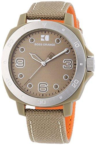 Hugo Boss - 1502288 - Orange - Montre Mixte - Quartz Analogique - Cadran Beige - Bracelet Tissu Beige