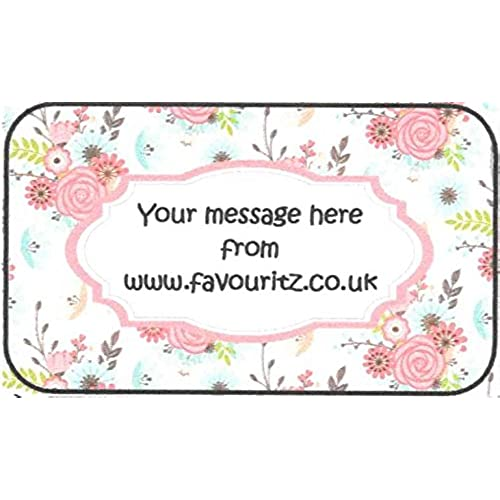 Personalised a4 sheet of glossy personalised stickers floral sticky labels party bag seals invites stickers etc choose from 2 shapes
