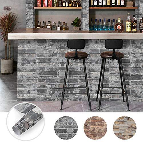 Steintapete 3D Optik selbstklebende Tapete Wandaufkleber Wandtapete Ziegelstein Backstein 0.61 * 5M für Wohnzimmer, Schlafzimmer Flur (Farbe A)