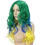 Sonia Originelli Perücke Langhaar Locken Kopfbedeckung WM EM Fan Party Fasching Karneval Farbe Brasilien