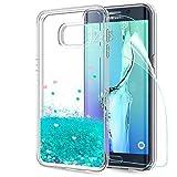 LeYi Hülle Galaxy S6 Edge Plus Glitzer Handyhülle mit HD Folie Schutzfolie,Cover TPU Bumper Silikon Treibsand Clear Schutzhülle für Case Samsung Galaxy S6 Edge Plus Handy Hüllen ZX Turquoise