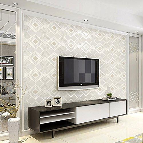 3D wallpaper Moderne minimalistische Diamant karierten Samt Tapeten Verdicken geprägte Geometrie Wohnzimmer Kulisse Kaufen Sie drei Get One Free ( Color : White )