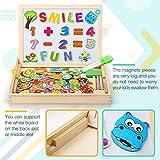 Fast 100 Stück Magnetisches Holzpuzzles, Doppelseitige Puzzle Tafel Lernspielzeug Staffelei Doodle Lernspiel Spiel Pädagogische Lernspiel, Geschenk für Kinder von Dookey