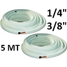 Tubos de cobre, par de 1/4 y 3/8 pulgadas, 5 metros, para aire acondicionado