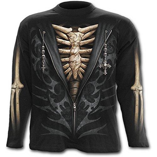 Spiral- Camiseta de manga larga para hombre, sin cremallera, color negro Negro negro XL