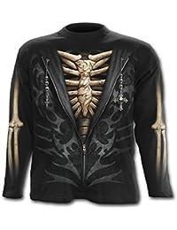 Spiral Unzipped Langarm Shirt Bones Knochen Skelett Gothic - Unisex