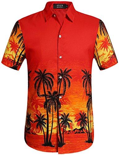 rzarm Freizeit Urlaub Aloha Hawaii Hemd (Medium, Rot) (Halloween Hawaii-shirt)