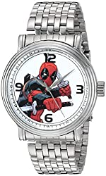 Marvel Mens Deadpool Quartz Metal and Stainless Steel Automatic Watch, Color:Silver-Toned (Model: W002858)