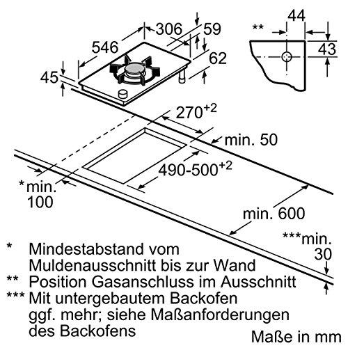 Neff Domino NK 2435 N Kochfeld / 30,60 cm / Gas-Glaskeramik-Kochfeld mit integrierten Kochstellenreglern / edelstahl - 2