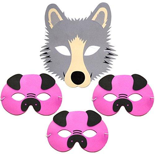 mstoff-Kinder-Masken, 3kleine Schweinchen & Wolf–Masken, 4 Stück (Wolf-masken Für Kinder)