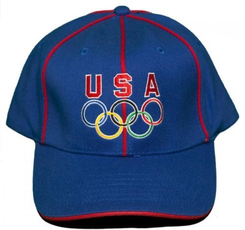 fb2e0ca781b USA Olympic Rings Stretch-Fit Hat Embroidered Cap - Large XLarge by