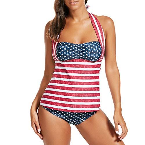 Bfmyxgs Frauen-reizvoller Monokini-Flaggen-Druck-Badeanzug-hängender Hals-Splice Zweiteiliger Badebekleidung Unabhängigkeitstag (Pack 38c Sport-bh)