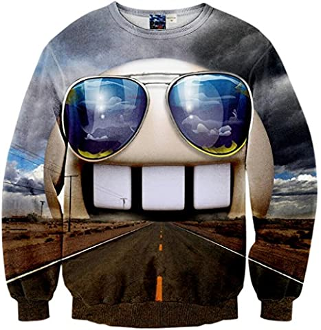 Pizoff Unisex Hip Hop sweatshirts with 3D Digital printing 3D pattern funny freeway glass dental Y1759-18-L