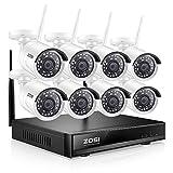 ZOSI Kit de Cámaras de Seguridad WiFi 1080P Sistema de Vigilancia Inalámbrico 8CH HD Grabador NVR + (8) 2MP Cámara IP Exterior, sin Disco Duro, Visión Nocturna, Acceso Remoto en Móvil