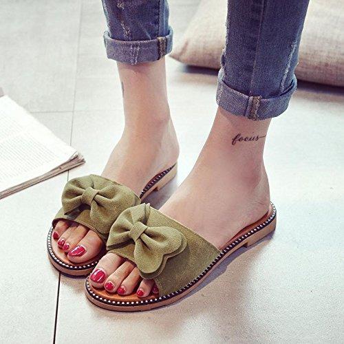 LvYuan Pantofole estive delle donne / modo casuale di modo / Bowknot / piattaforme / sandali / pattini della spiaggia Green
