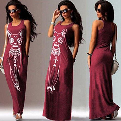 Manadlian Robes Femmes, Longue Robe Femme 2017 Femmes Occasionnelles sans Manches Bohème Long Cocktail Party Robe de Plage Rouge