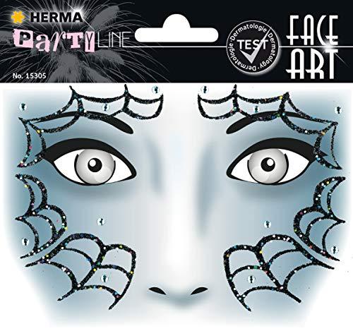 (Herma 15305 Face Art Sticker, Kostüm Aufkleber für das Gesicht, Motiv Spider Spinne, dermatologisch getestet, für Fasching, Karneval, Halloween)