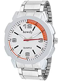 Howdy Analog White Dial Stainless Steel Strap Watch For Men's