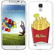 """Funda carcasa para Samsung Galaxy S4 diseño ilustración """"My fries"""" patatas fritas borde blanco"""