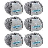 Wolle zum Häkeln * Merino Wolle kiesel (Fb 302) * 6 Knäuel graue Wolle stricken - Merino Mix Wolle + GRATIS MyOma Label - 50g/120m - MyOma Wolle - weiche Wolle - Mischwolle stricken